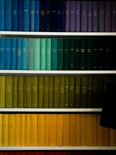 Books organized by color...