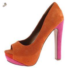 Rainer Coral F-Suede Color Block Open Toe Platform Dress Pump Women Shoes-7 - Sullys pumps for women (*Amazon Partner-Link)