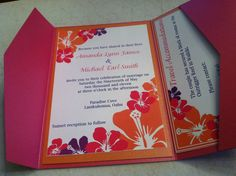 orange and pink | Smith Invitation Suite (Pink, Orange and Purple Hibiscus Themed ...