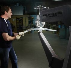 Kinetic Sculpture | In the Studio with Jeff Kahn | Bending and shaping components using an English Wheel. http://jeffkahnsculpture.com/