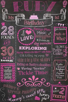 Incorporate into a birthday party invitation First Birthday Chalkboard Poster Sign Printable / or /DIGITAL / babys / Babys First Birthday / Plus FREE Web File. fun customizable first birthday milestone printable keepsake! Baby Girl 1st Birthday, Bday Girl, Birthday Board, Baby Birthday, First Birthday Parties, First Birthdays, Birthday Ideas, Fete Audrey, 1st Birthday Chalkboard