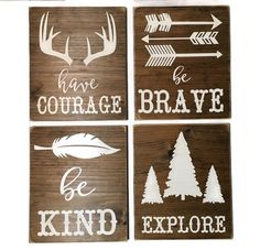 Woodland Nursery Signs// Rustic Wood Sign// Outdoors theme// Boy Nursery// Baby Shower Gift//Be Kind// Be brave// Have Courage// Explore// by WonderWallSigns on Etsy https://www.etsy.com/ca/listing/512299169/woodland-nursery-signs-rustic-wood-sign