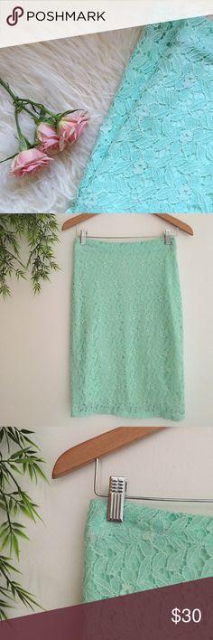Mint midi skirt Lace detail, worn once! Mint color :) Skirts Midi