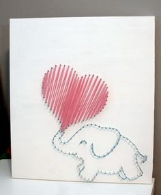Elephant Love String Art by HPKphotography on Etsy Nail String Art, String Crafts, Crafts To Do, Arts And Crafts, Diy Crafts, Arte Linear, Cuadros Diy, Art Du Fil, String Art Patterns