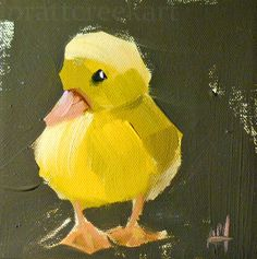 yellow duckling no. 4 original bird duck oil painting by moulton 6 x 6 inches on canvas prattcreekart