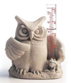 Owl Rain Gauge . $49.95. A real hootMade of concrete5 x 5 x 4 inches. While it looks like this wise old owl is wondering Whoo?s Wet, we suspect that he already knows, and so does his sidekick, the frog.  A frivolous but fun accent for yard or garden, it makes a great gift for the insatiably curious who like to know just how much water their flowers or the lawn is really getting. A real hoot for Father?s Day.  Concrete, glass.  5 x 5 x 4 inches.