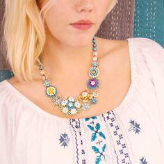 A sneak peek at our Moroccan Summer collection (launching tonight!), featuring our Limited Edition Jardin Majorelle Statement Necklace...shop my site listed above!