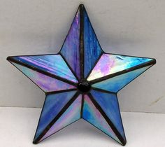 Stained Glass Tree Topper, Iridescent Blue Glass, Tree Top Decoration, Christmas Star Ornament, Texas Star, Barn Star, Nautical Star, Gift