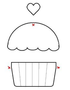 Applique Cupcake Template - maybe for birthdays Felt Crafts, Fabric Crafts, Sewing Crafts, Sewing Projects, Paper Crafts, Template Cupcake, Crown Template, Cupcake Card, Heart Template