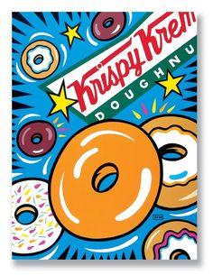 Krispy Kreme Doughnuts Illustration by Burton Morris ~ Pop Art