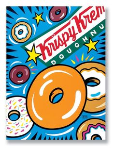 Krispy Kreme Doughnuts Illustration by Burton Morris ~ Pop Art