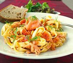 Norvege - Tagliatelles au saumon et à la tomate (Plat) - Recettes de Cuisine norvégiennes