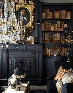 Dark book space home living room perhaps