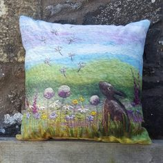 Cushion Throw Pillow with Printed Design featuring a hare among wildflowers…