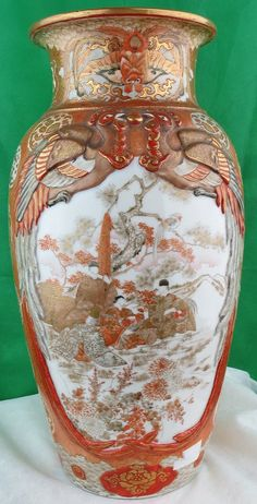 Pair of Kutani Porcelain Vases - Japan 1880