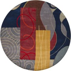Bense - 3015 - Patterned Round Contemporary Area Rug