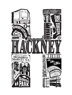 Best of Hackney - London print - London poster - London Art - Typographic Print - London illustration - letter art - East London poster London Poster, London Art, East London, Soho House London, Home Interior, Interior Decorating, British Values, Image Makers, Typography