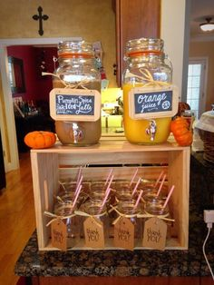 Drink station for little pumpkin baby shower. Mason jar drink dispensers on top … Drink station for little pumpkin baby shower. Mason jar drink dispensers on top of wooden crate. Mason jars second as party favors. Baby Shower Brunch, Otoño Baby Shower, Baby Shower Drinks, Shower Bebe, Baby Shower Gender Reveal, Baby Shower Fall Theme, Bridal Shower Fall, Fall Gender Reveal, Fall Wedding Showers