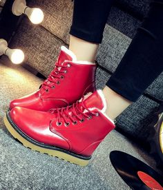 Women's Winter Snow Boots Warm Ankle Boots,PU Leather Fashion Casual Boots.Red,Black,White.3 colors to choose.