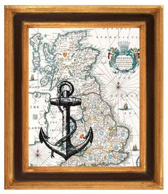 Nautical Maps are the best especially this Black Anchor Print  on antique  map of England, Wall Art, Matte Print  vintage map and illustration.