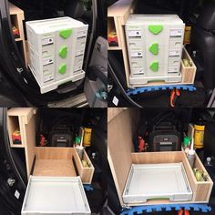 This is how the little bit of back seat racking in the truck came out been using it for about a mont - alexkernotwood Van Racking, Truck Storage, Roof Lines, Back Seat, Middle, Layout, Trucks, Bags, Filter