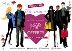 Promotion Saint Valentin : pour toutes commandes, les frais de port sont offerts du 4 au 18 février 2013