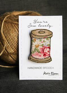 Textile Thread Spool Brooch