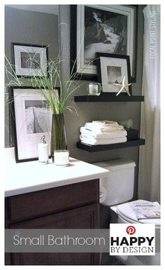 Small Bath Space Decor - Using window panels vs a traditional shower curtain helps to give height to a small bathroom while an over-sized framed photo helped conceal & camouflage a small window for privacy. #HomeGoods #Bathroom #Decor Lynda Quintero-Davids