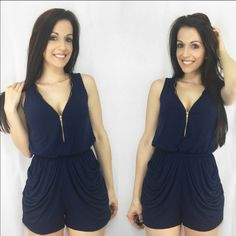 "NAVY ZIPPER RUCHED ROMPER The price on this item is firm & will not be lowered. This adorable navy romper is perfect for spring/summer. It is so flattering on! Features a functioning gold tone zipper on the front & back so you control the coverage. Has ruched functional pockets & elastic comfort waistband. So comfy! Fits TTS. Apprx 32.5"". 95% poly, 5% spandex. S(2-4) M(6-8) L(10-12) model is 5'2"" 115 lbs wearing S. MEGA FAST SHIPPER! *Previous customer discount does not apply to item…"
