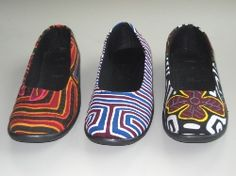 So awesome. Shoes made from recycled Molas; the blouses made and worn by the Kuna women of Panama and Columbia.