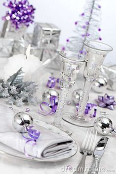 Christmas party table - 28 Charming Purple Christmas Decorations For Maximum Appeal – Christmas party table Christmas Party Table, Christmas Table Settings, Christmas Tablescapes, Christmas Tea, Silver Christmas, Christmas Holidays, Coastal Christmas, Christmas Crafts, Holiday Tablescape