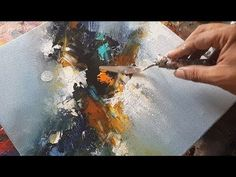 Abstract painting / Blending with flat brush and palette knife in acrylics / Demonstration - YouTube