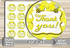 Party Favor Tag Bee Yellow, Stickers Yellow - Baby Shower Favor Tag Thank You Printable Bee, Bumble Boy Girl - Instant Download - bee1 by DigitalitemsShop on Etsy