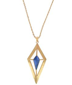 Tomei gold blue necklace | Edge of Ember | Diamond shaped pendant with blue lapis accent