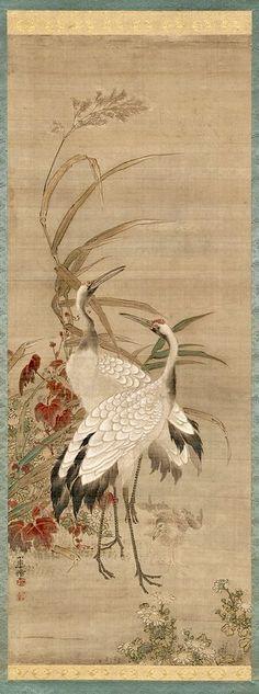 Family of Cranes, second half century. Ink and color on silk. Lotus Painting, Ink Painting, Korean Painting, Chinese Painting, Japanese Crane, Art Vintage, Art Japonais, Korean Art, Artist Life