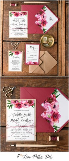 Marsala & eco papers wedding invitations with floral printing and tag #weddingideas #wedding #marsala #deepred #red #floral #flowers #weddingideas