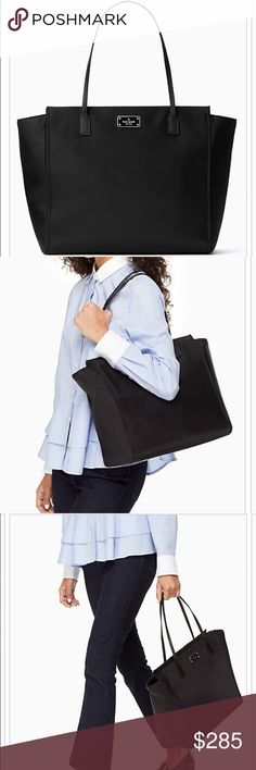 """Blake Avenue Taden Tote with zipper closure. Interior zipper pocket and dual slide pockets. Size: 12.1"""" x 13.3"""" x 4.3"""" Drop length: 8.85"""" Material: Nylon with saffiano pvc trim. Capital Kate jacquard lining. Style# wkru2526. kate spade Bags Totes"""