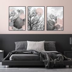 For the DIYer in you, instantly download your favourite artwork, take them to your local print shop or upload to an online print service, frame them in your own frames and have them on your wall ASAP! #setof3prints #printables #printableart #trendingnowart #livingroomart #blushpink #pinkbedroomideas #bedroomart #blushpinkgrey #blushpinkwalldecor #downloadableprints #modernartprints #urbanepiphany Pink Gray Bedroom, Pink Bedrooms, Pink Room, Pink Grey, Blush Pink, Geometric Poster, Pink Wall Art, Pink Home Decor, Modern Wall Decor