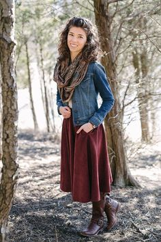 2d285f4861381 Outfit // Winter Woodland - Corduroy skirt with pockets. Top tucked in with  a