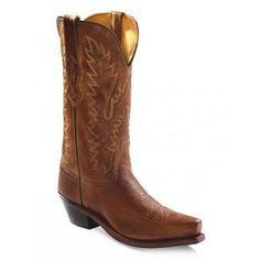 Old West Youth Leather Scallop Shaft Snip Toe Tan Canyon Cowboy Boot