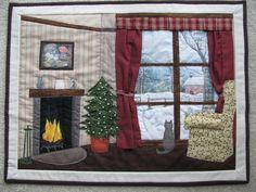 quilt - winter, fire, snow