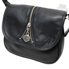 Harley Davidson Bags | HD644 - Harley-Davidson® Womens Mid Zip Handbag Purse Black Leather
