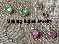 Bullet Jewelry Tutorial Post Earrings) Made from Once Fired Pistol Brass. A quick video about how to make handmade bullet jewelry Bullet Earrings from recycled reloading brass from a Winchester bullet. When using the highest quality bullet slices Bullet Shell Jewelry, Shotgun Shell Jewelry, Bullet Casing Jewelry, Ammo Jewelry, Jewelry Crafts, Jewelry Case, Jewelry Ideas, Metal Jewelry, Jewelry Websites