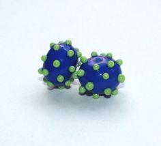 Set of 2 Donut Beads  10 mm x 14 mm  Blue от GlassNatalyaDarlin