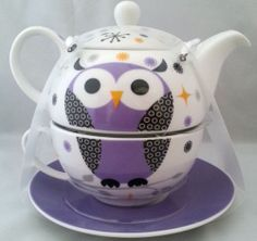 Purple Owl Porcelain Tea for One Teapot Tea Cup Saucer Set Microwave Safe New | eBay