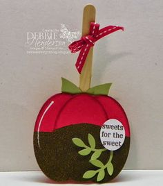 Candy Apple with Stampin' Up! Ovals Collection Framelits by Debbie Henderson, Debbie's Designs.