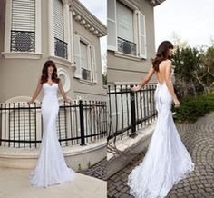 Wholesale Buy Vintage Sheer Backless Sexy Beach Wedding Dresses Mermaid Spaghetti White Elegant Lace Appliques Ruched Ribbon Sweep Train