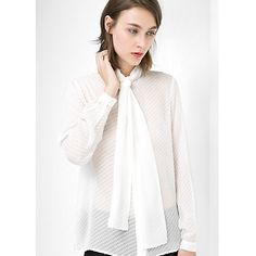 Buy Mango Plumeti Neck Tie Silk-Blend Blouse, Natural White Online at johnlewis.com