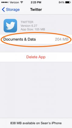 The Twitter app itself occupies 105 MB of space, but it has saved 204 MB of documents & data to my phone. Time to delete and reinstall.