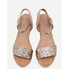 SheIn(sheinside) Gold Glitter Flatform Wide Strap Wedges (650 MXN) ❤ liked on Polyvore featuring shoes, flatform shoes, gold glitter shoes, peep toe wedge shoes, mid-heel shoes and glitter shoes